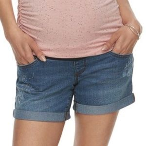a:glow Shorts - Maternity a:glow Full Belly Panel Jean Shorts